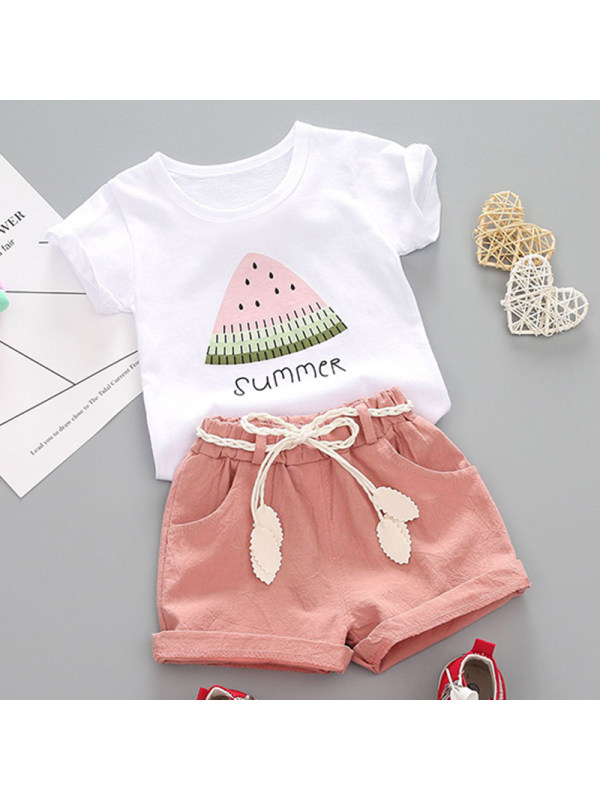 【12M-4Y】Girl Sweet Watermelon T-shirt Shorts Set