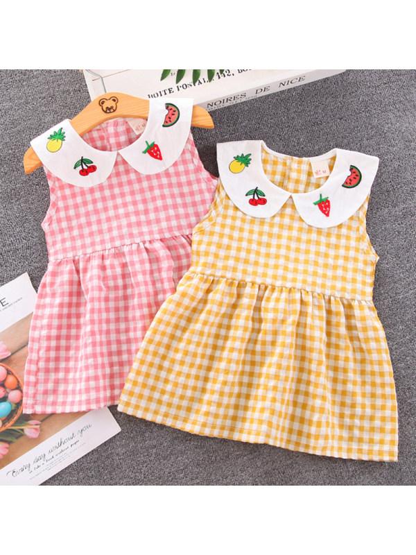 【12M-4Y】Girl Sweet Plaid Lapel Sleeveless Dress