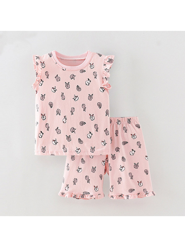【18M-9Y】Girls Cartoon Print Short-sleeved Shorts Two-piece Suit