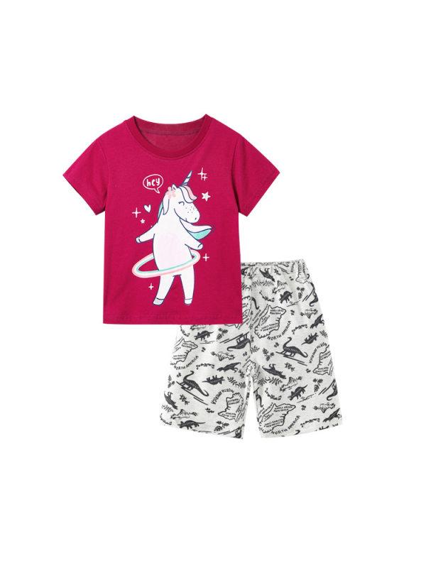 【18M-9Y】Girls Unicorn Cartoon Print Short-sleeved T-shirt Shorts Two-piece Suit