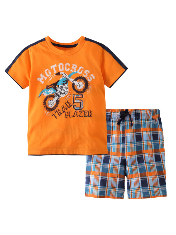 【12M-7Y】Boys Cartoon Letter Print Short-sleeved T-shirt Shorts Two-piece Suit