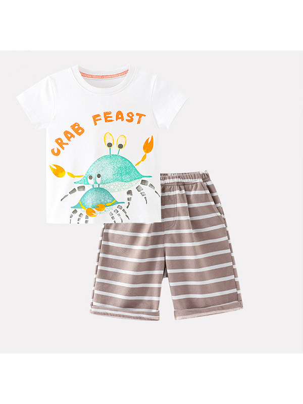 【18M-9Y】Boy's Cartoon Print Short-sleeved and Stripe Shorts Two-piece Suit