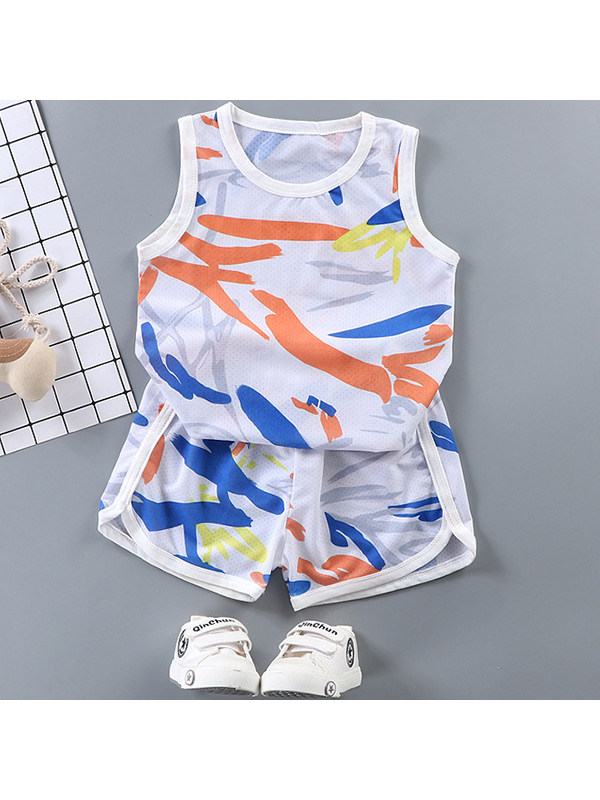 【3Y-13Y】Boys' Breathable Sweat-absorbent Vest Shorts Outdoor Quick-drying Clothes