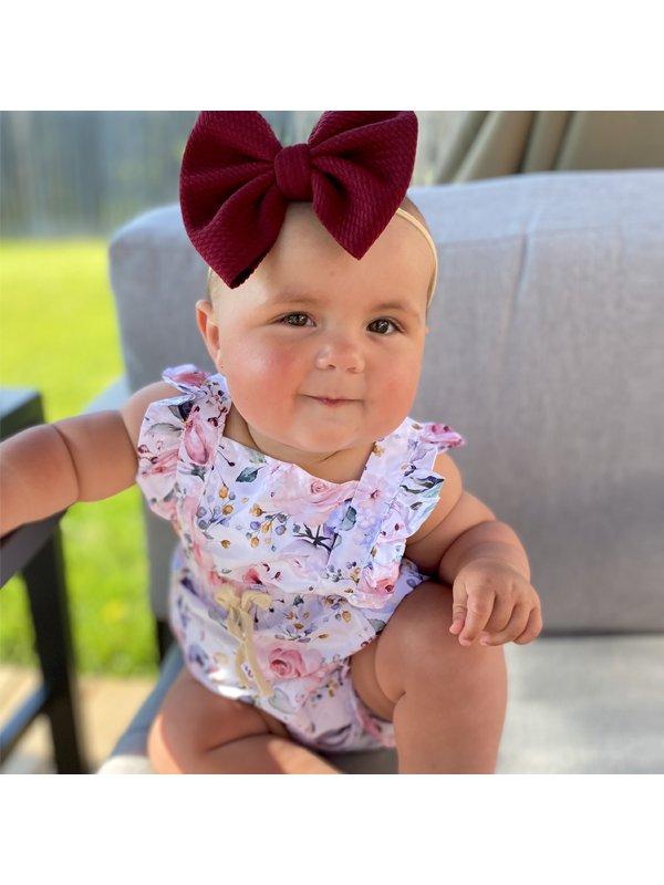 【6M-2Y】Baby Girl Flower Print Cute Sleeveless Romper - 3508