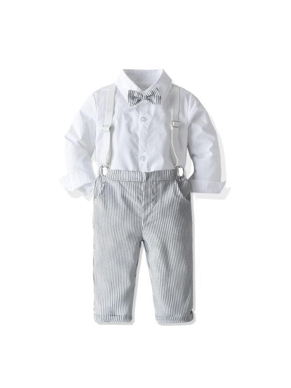 【12M-7Y】Children's Striped Pants Long-sleeved Shirt Suit