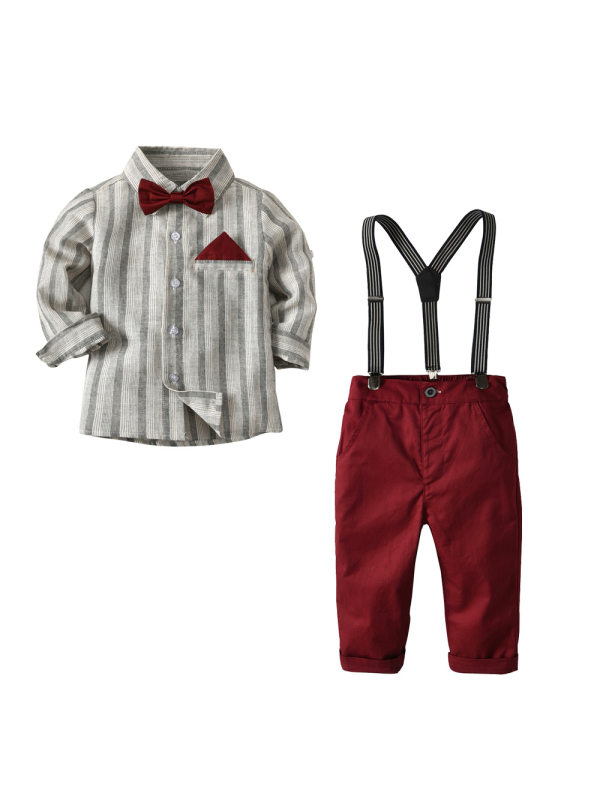 【18M-9Y】Boy's Long-sleeved Plaid Shirt Gentleman Suit Four Pieces