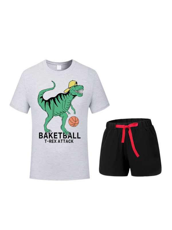 【12M-9Y】Children's Two-piece Short-sleeved Shorts Suit