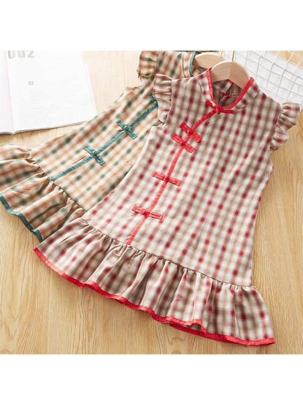 【3Y-9Y】Girl Sweet Plaid Short Sleeve Dress