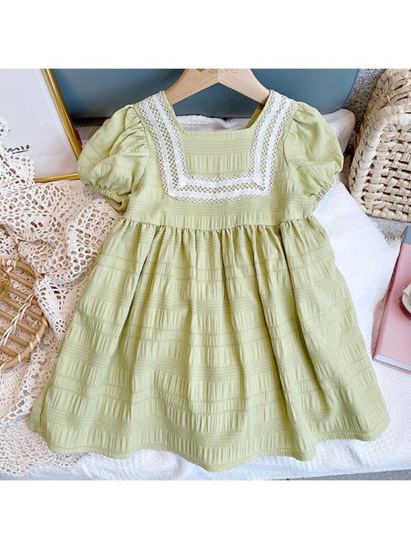 【18M-7Y】Girl Sweet Green Short Sleeve Dress
