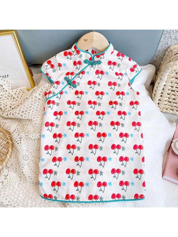 【18M-7Y】Girls Sweet Cherry Pattern Stand Collar Short Sleeve Dress