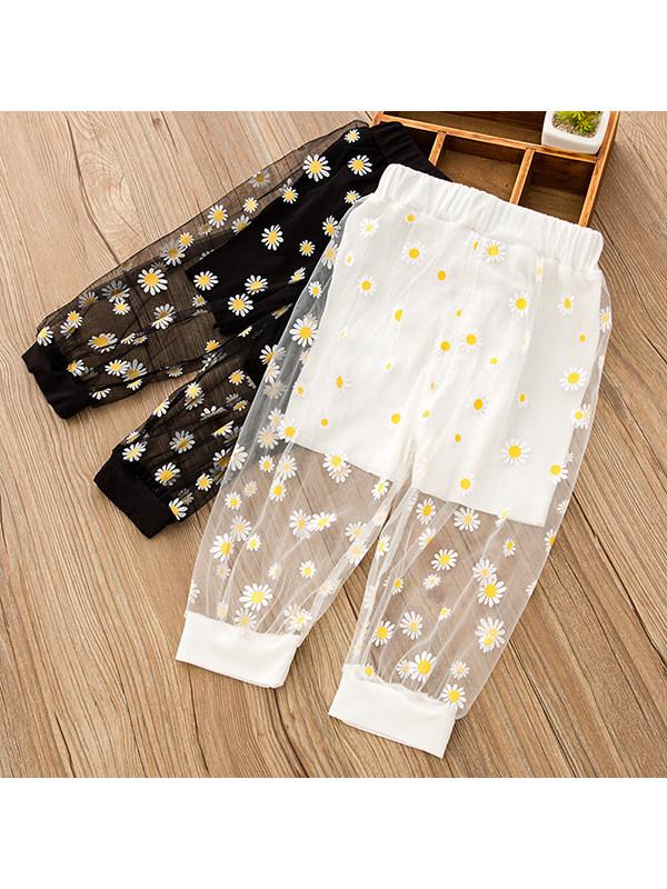 【18M-7Y】Girls Daisy Print Mesh Pants