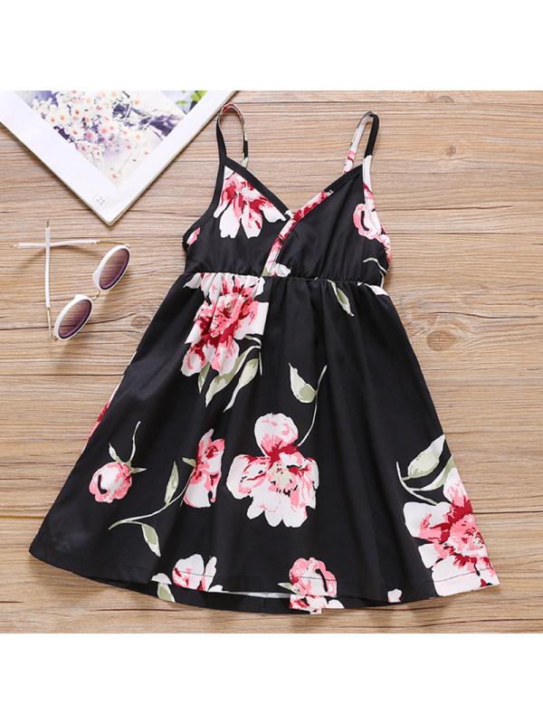 【18M-7Y】Girl Sweet Black Flower Sling Dress