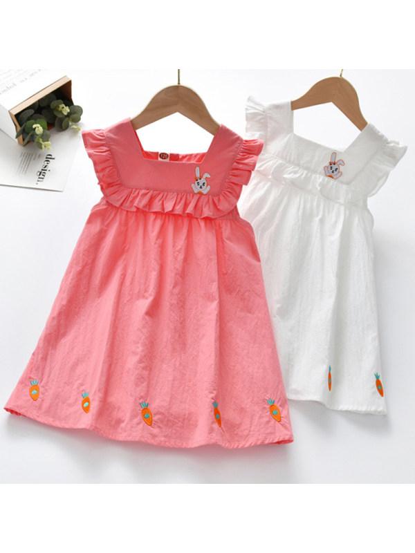 【18M-7Y】Girl Sweet Rabbit Embroidered Sleeveless Dress