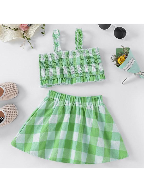 【18M-7Y】Girl Sweet Green Plaid Top Skirt Suit