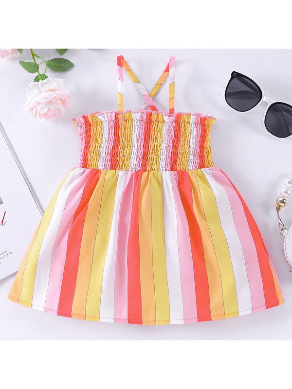 【6M-2.5Y】Girl Sweet Orange Striped Sling Dress