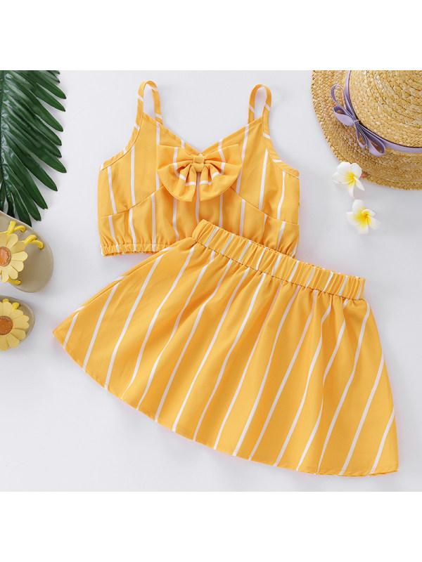 【18M-7Y】Girl Sweet Yellow Striped Top Skirt Set