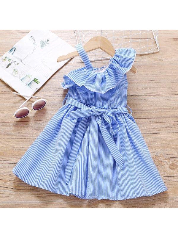【18M-7Y】Girls Sweet Blue Striped Off The Shoulder Dress