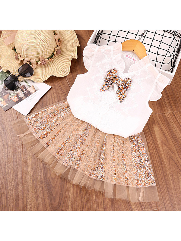 【18M-7Y】Girls Flying Sleeve Top and Mesh Short Skirt Two-piece Suit
