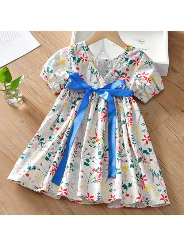 【2Y-9Y】Girl Sweet White Floral Short Sleeve Dress