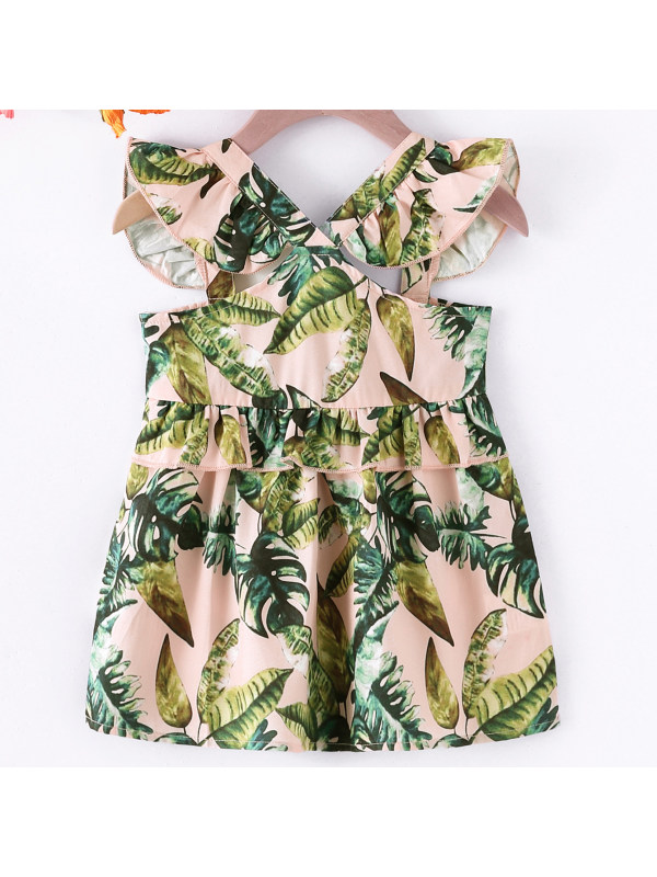 【6M-2.5Y】Girl Sweet Pink Plant Pattern Backless Dress