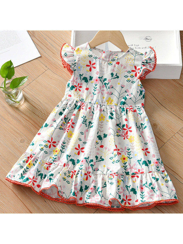 【18M-7Y】Girl Sweet White Floral Short Sleeve Dress