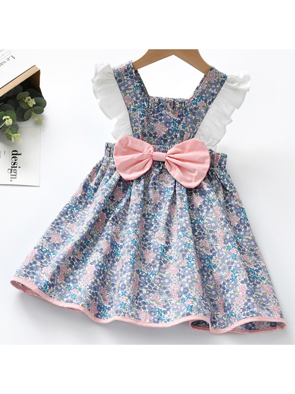 【18M-7Y】Girl Sweet Floral Bow Backless Dress