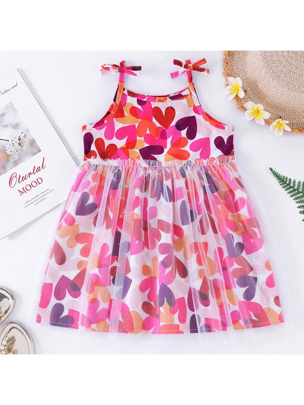 【18M-6Y】Girls Sweet Heart Shaped Sling Dress