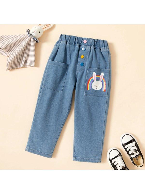 【18M-7Y】Girl Sweet Cartoon Pattern Jeans