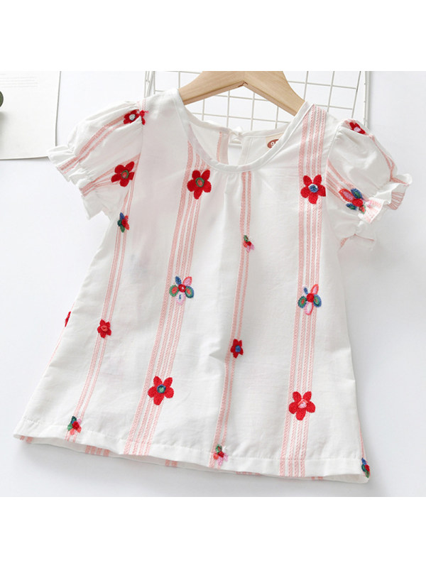 【18M-7Y】Girl Sweet White Floral Embroidered Short-sleeved Shirt