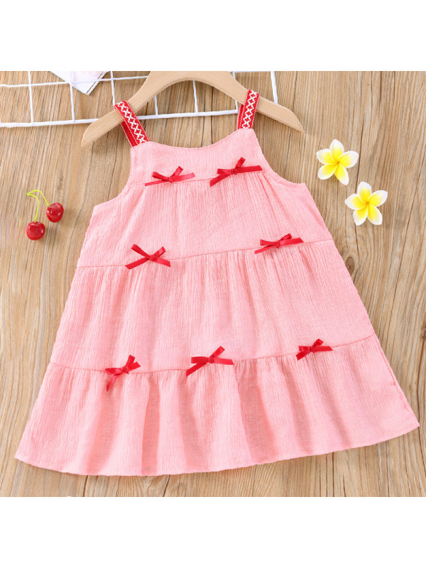 【6M-2.5Y】Girl Sweet Pink Bow Sling Dress