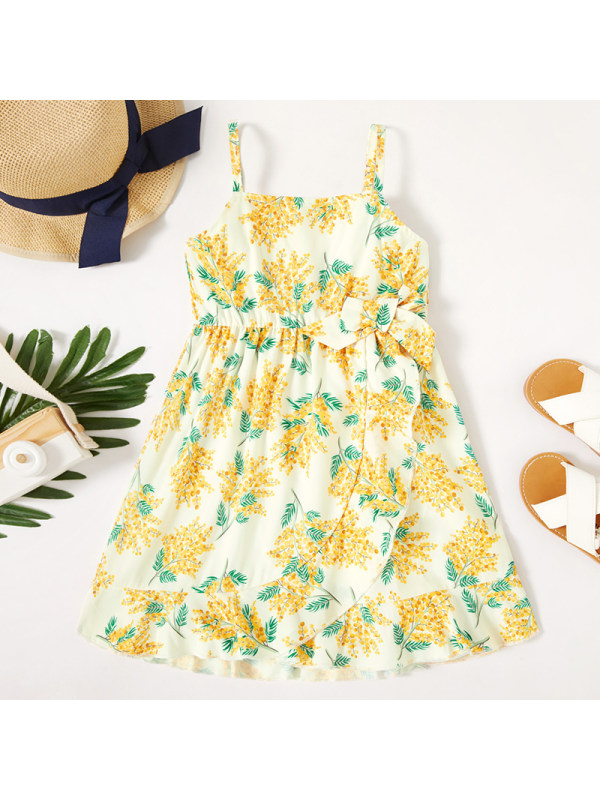 【18M-6Y】Girl Sweet Yellow Flower Sling Dress