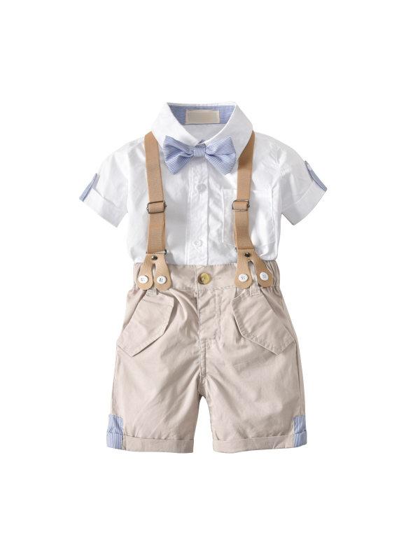 【12M-4Y】Boys' Bow Tie Gentleman Suspender Shorts Short-sleeved Shirt Four-piece Suit