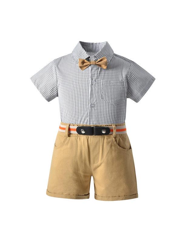 【12M-7Y】Boys' Short-sleeved Shirt Bib Gentleman Suit