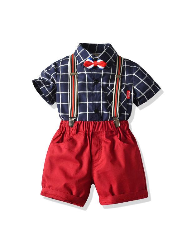 【12M-7Y】Children's Bow Tie Check Shirt Bib Gentleman Suit