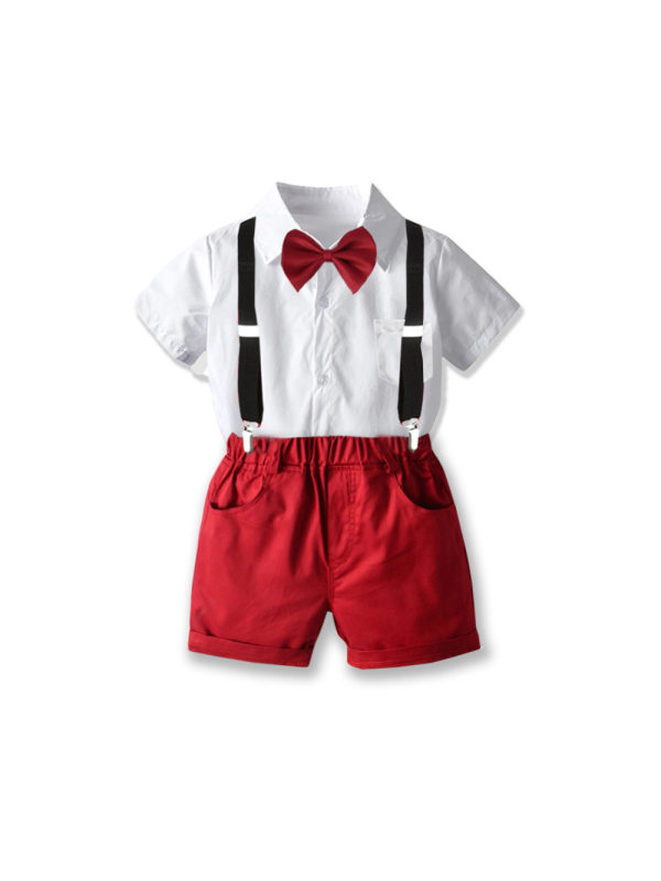 【18M-7Y】Children's Formal Wear White Shirt Suit