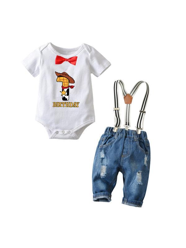 【6M-3Y】Boy Cartoon Print Short-sleeved Romper Denim Overalls Suit