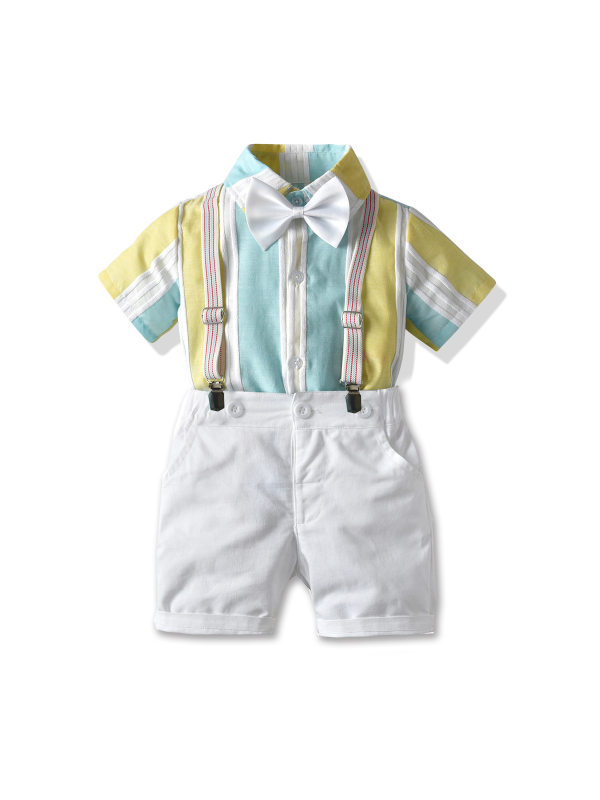 【12M-7Y】Boys' Bow Tie Short-sleeved Shirt Bib Gentleman Suit