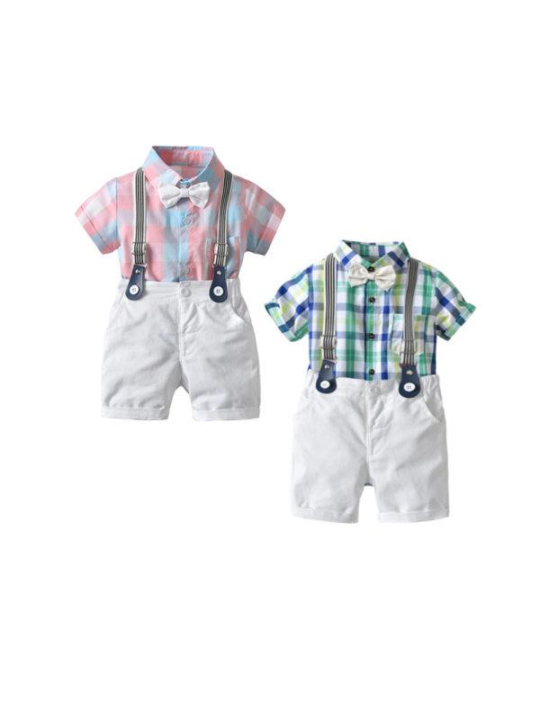 【6M-3Y】Boys' Short-sleeved Shorts Four-piece Suit