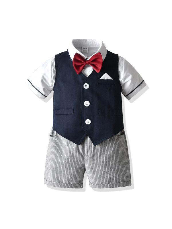 【12M-7Y】New Gentleman Short-sleeved Bow Tie Shirt Vest Suit