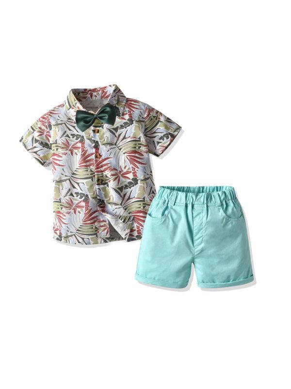 【12M-7Y】Children's Leisure Two-piece Suit Boy Bow Tie Beach Flower Shirt Shorts Suit