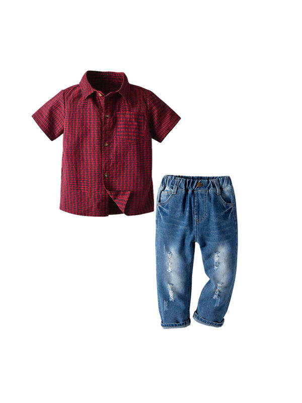 【18M-7Y】Boy Plaid Short-sleeved Shirt And Jeans Two-piece