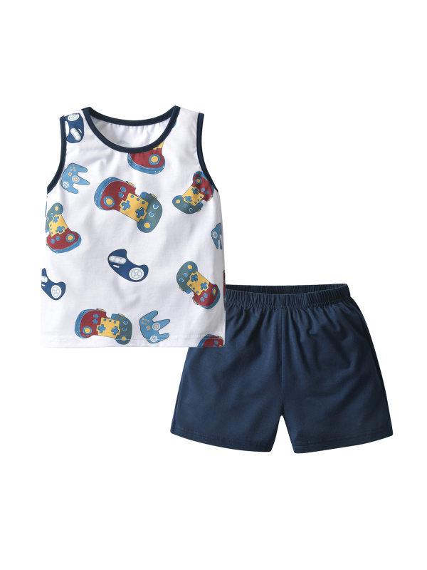 【18M-7Y】 Children's Printing Vest Shorts Pajamas Casual Two-piece Suit