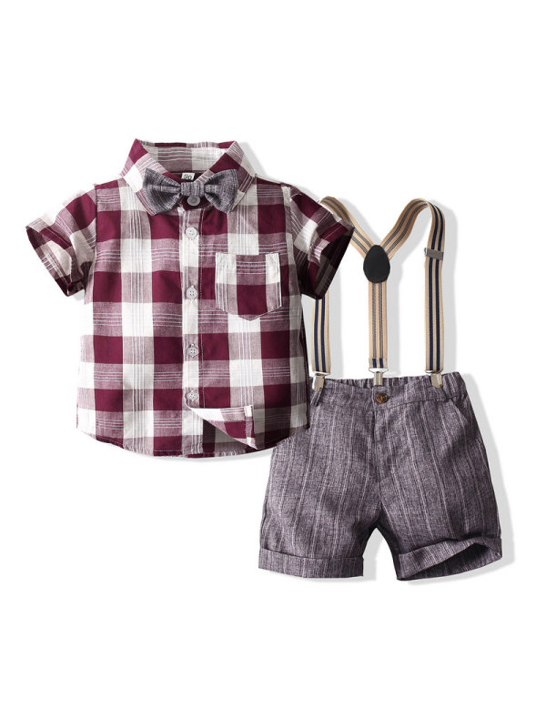 【18M-7Y】Summer Plaid Shirt And Shorts Suit
