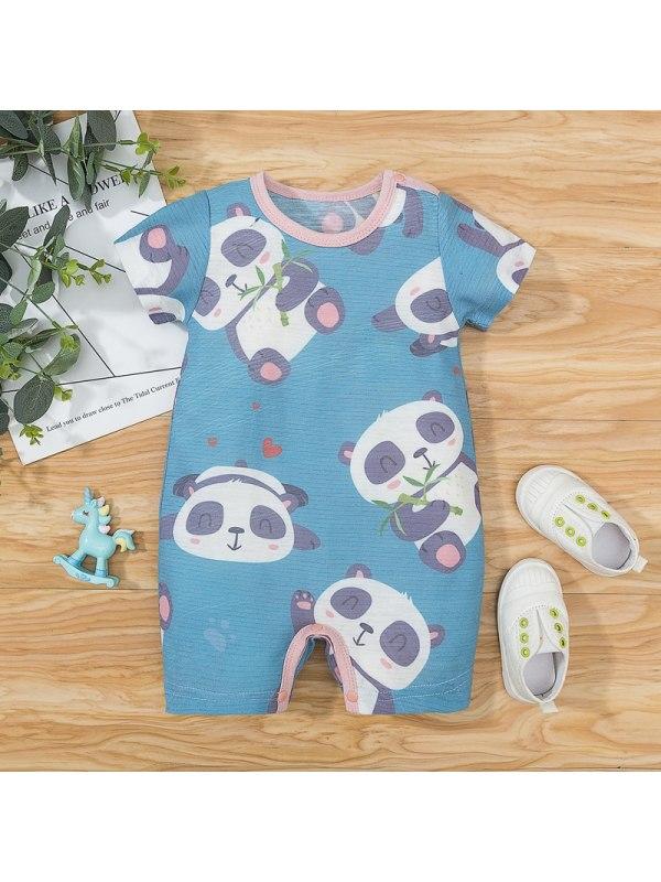 【3M-18M】Baby Cartoon Panda Print Romper