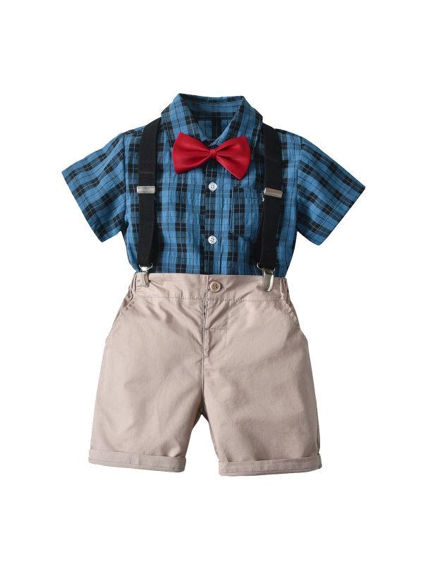 【12M-5Y】 Boys Plaid Short Sleeve Shirt Bow Tie and Strap Shorts Four-piece Set