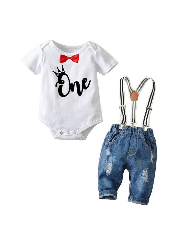 【6M-3Y】Boy Letter Print Short-sleeved Romper Denim Overalls Suit