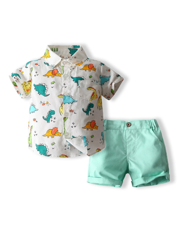 【18M-7Y】Summer Dinosaur Short-sleeved Shirt Lake Green Shorts Suit