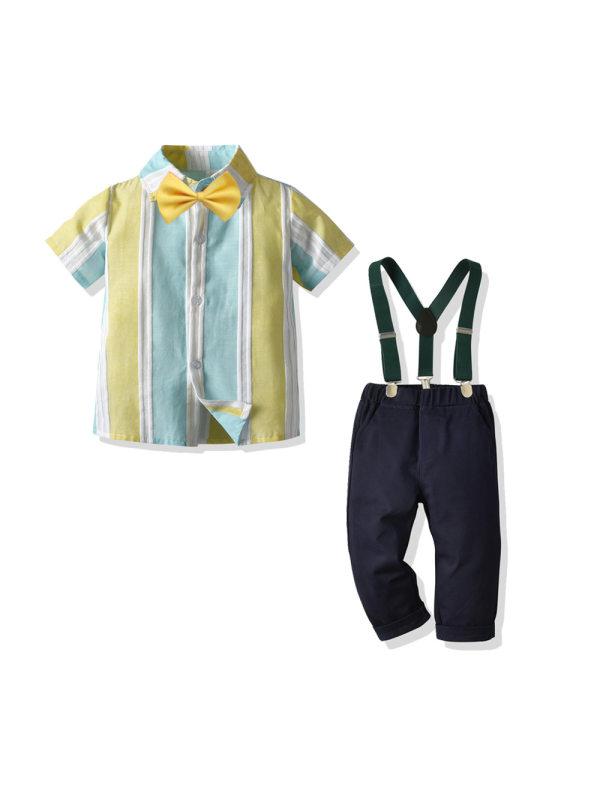 【18M-7Y】 Children's Short-sleeved Striped Shirt Bow Tie Trousers Gentleman Suit Four-piece Suit