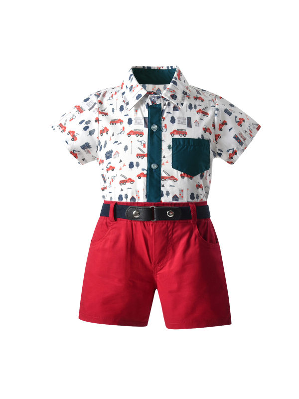 【18M-7Y】Boy Short-sleeved Suit Color Matching Car Short-sleeved Shirt Red Shorts Casual Three-piece Suit