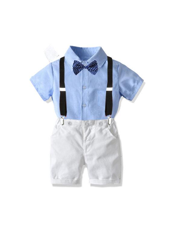 【12M-7Y】Children's Short-sleeved Shirt Suit